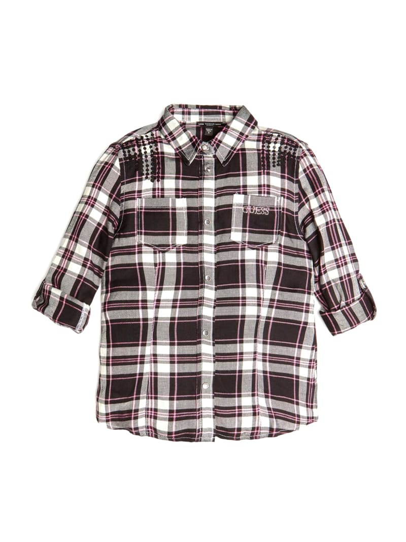 Sequin-Trim Plaid Shirt (7-14)