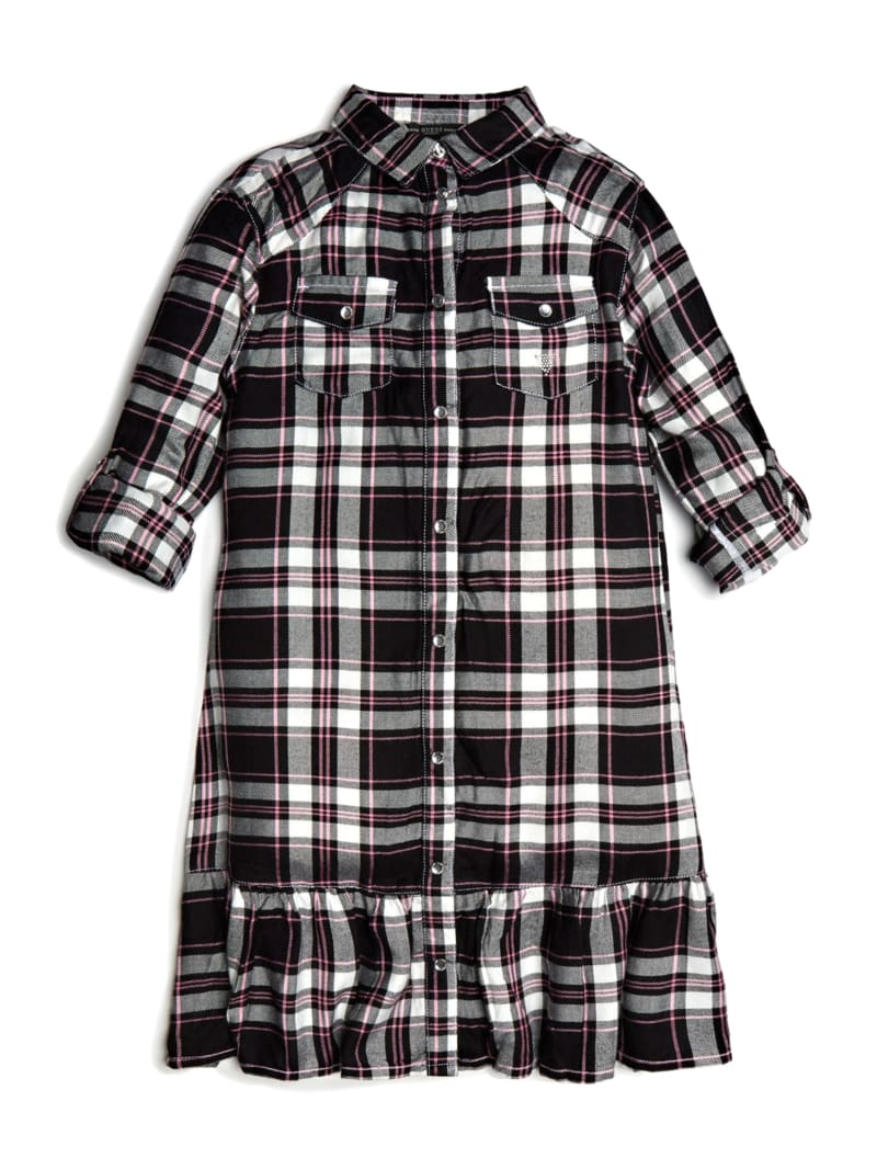Ruffled Plaid Shirtdress (7-14)