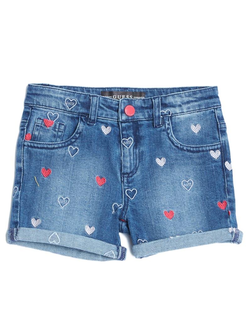 Heart Print Denim Shorts (2-7)