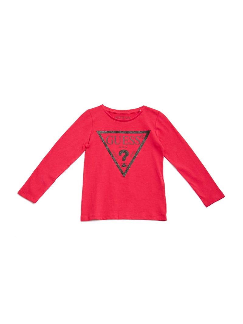 GUESS Kids Long-Sleeve Glitter Logo Tee (2-7)