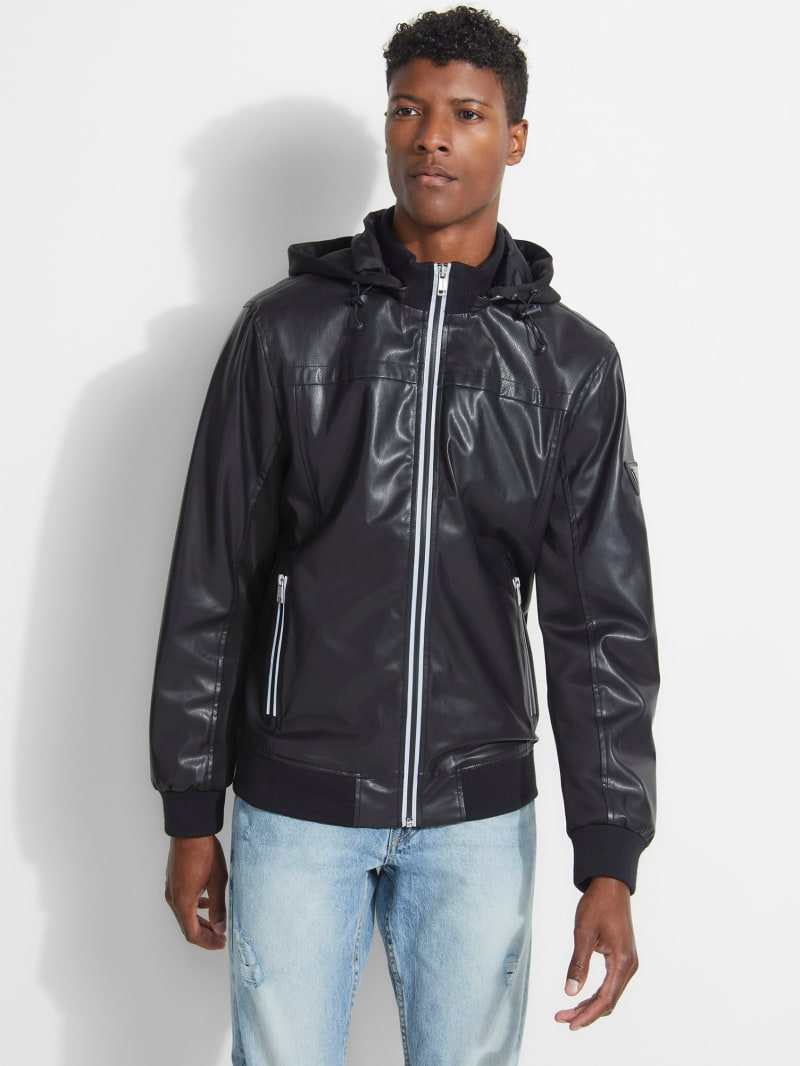 Faux-Leather Sport Bomber Jacket