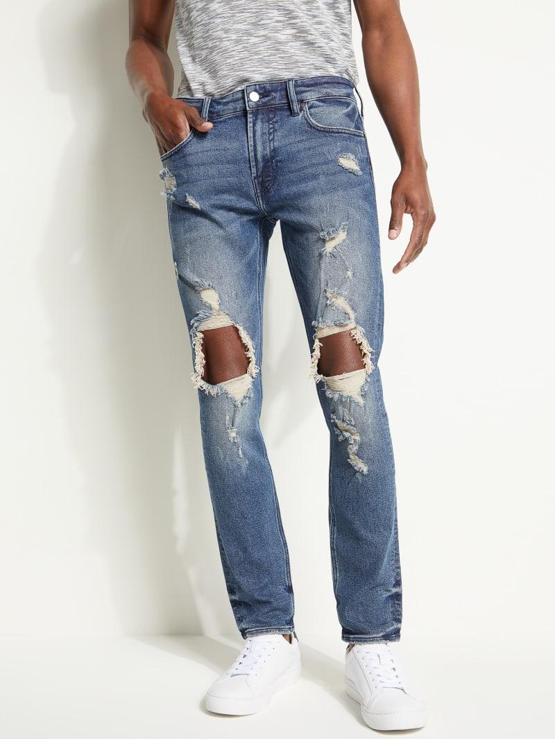 Destroyed Knees Skinny Jeans