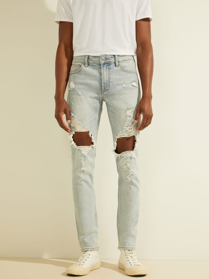 Destroyed Knees Skinny Jeans