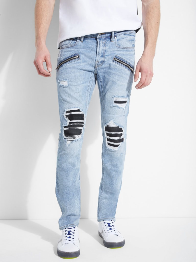 Pintuck Destroyed Skinny Jeans