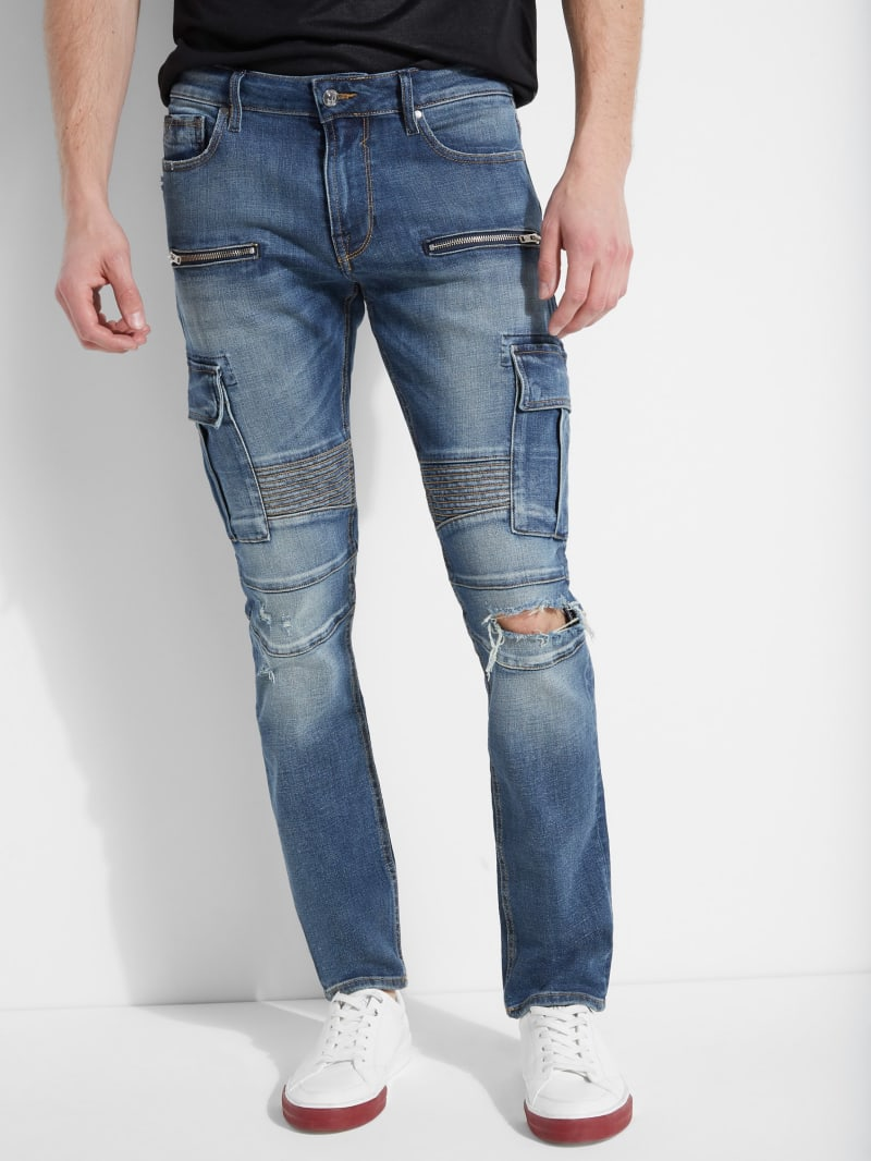 Slim Tapered Cargo Moto Jeans