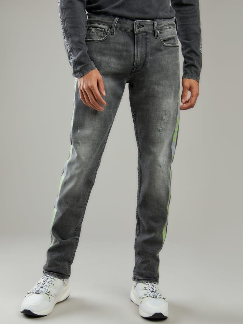Reflective Logo-Tape Slim Tapered Jeans