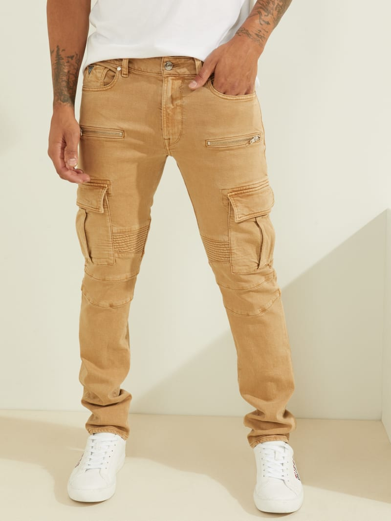 Slim Tapered Cargo Moto Jeans
