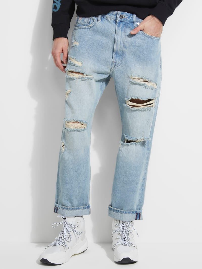 Relaxed Crop Distressed Jeans