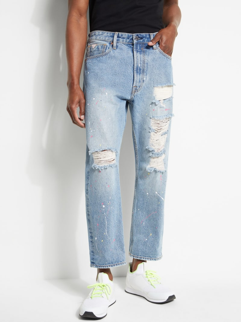 Paint Splatter Cropped Jeans