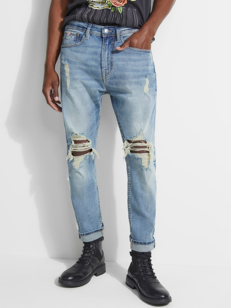 Distressed Tapered Crop Jeans