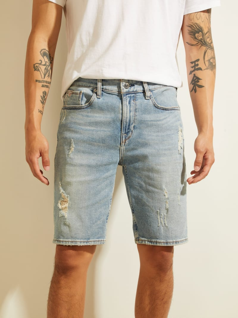 Distressed Slim Denim Shorts