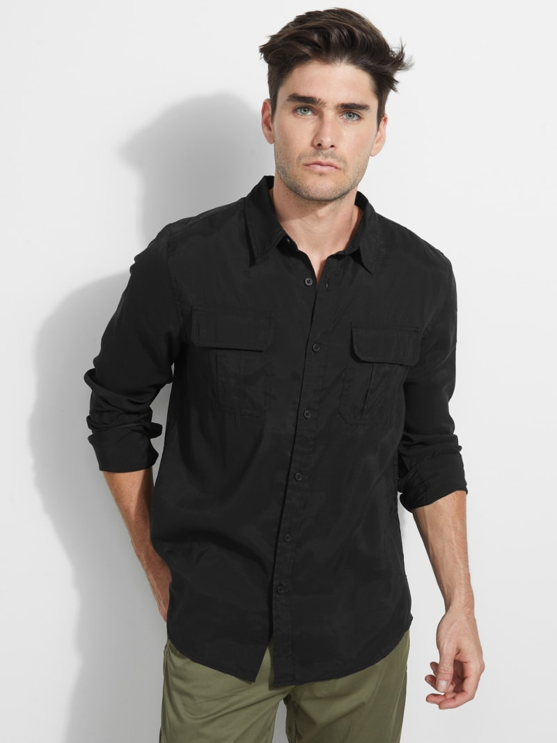 Sand-Washed Button-Up Shirt