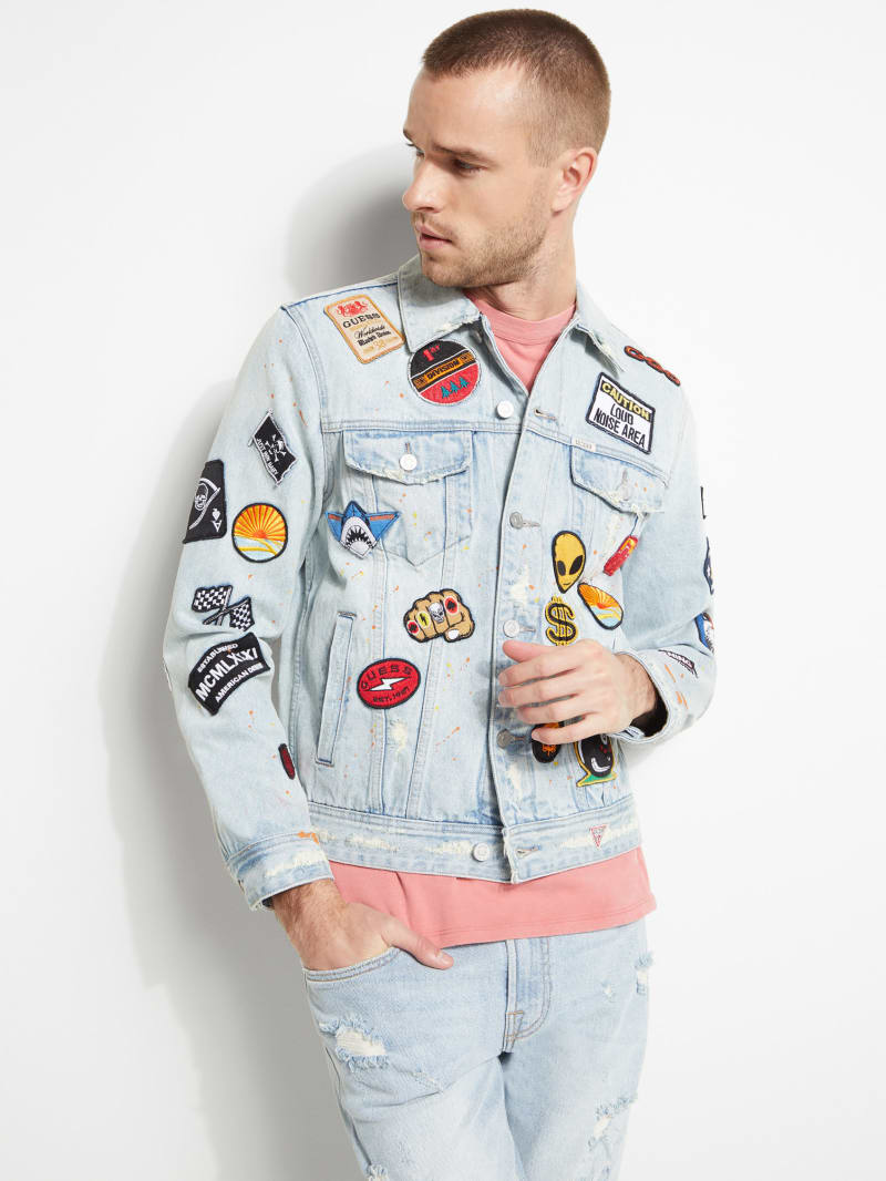 Patched Graffiti Denim Jacket