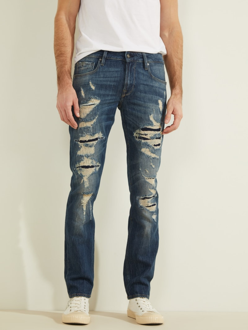 Eco Destroyed Slim Tapered Jeans
