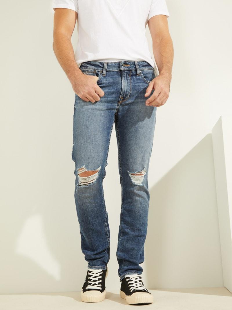 Slim Tapered Destroyed Knee Jeans