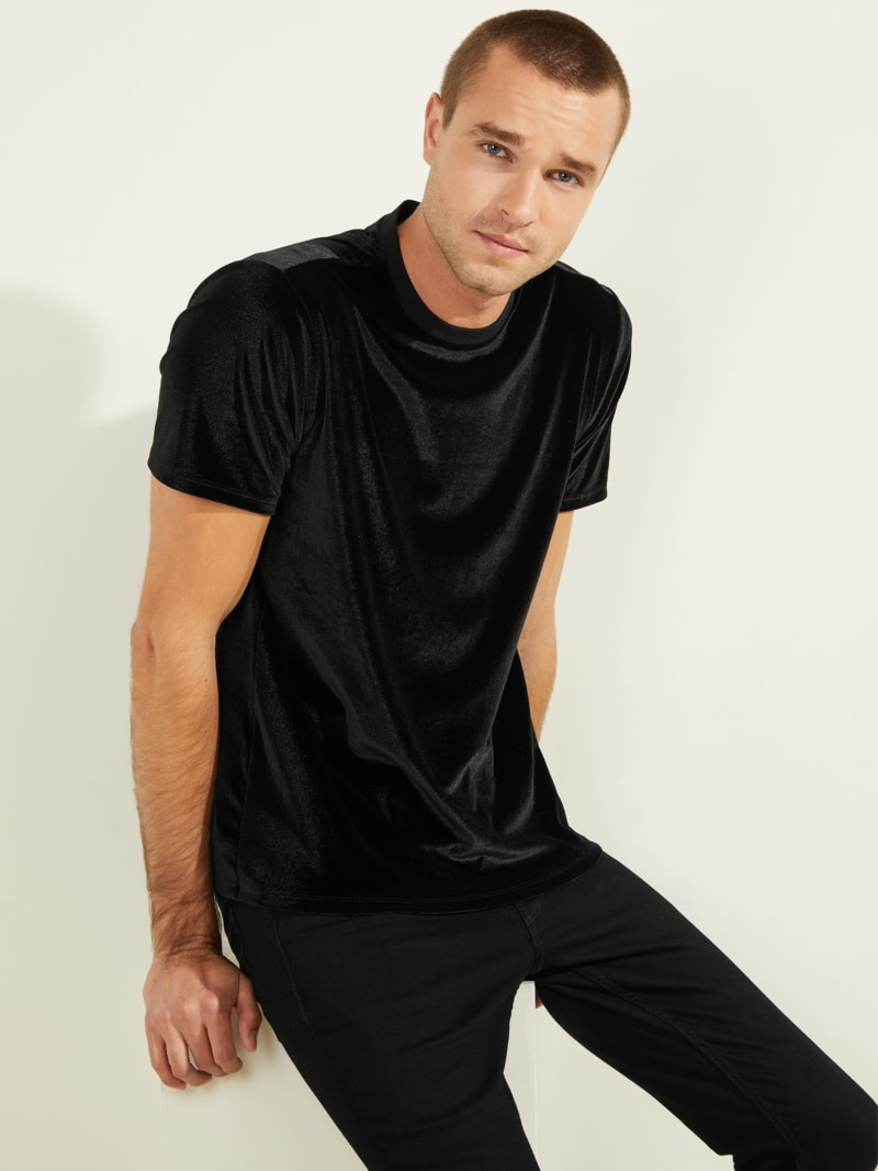 Short-Sleeved Nightspot Velvet Crewneck