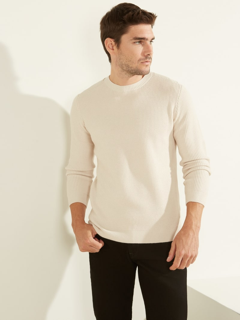 Nylon Pieced Crewneck Sweater