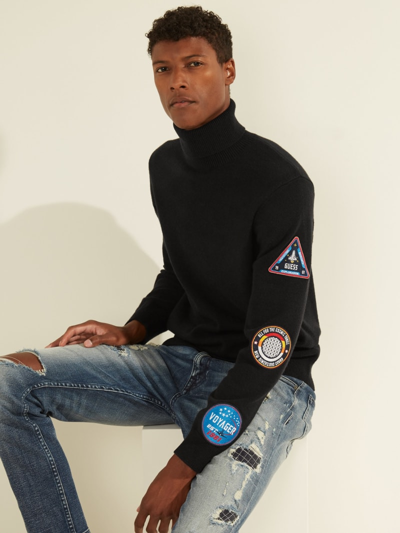 Liam Space Patch Turtleneck Sweater