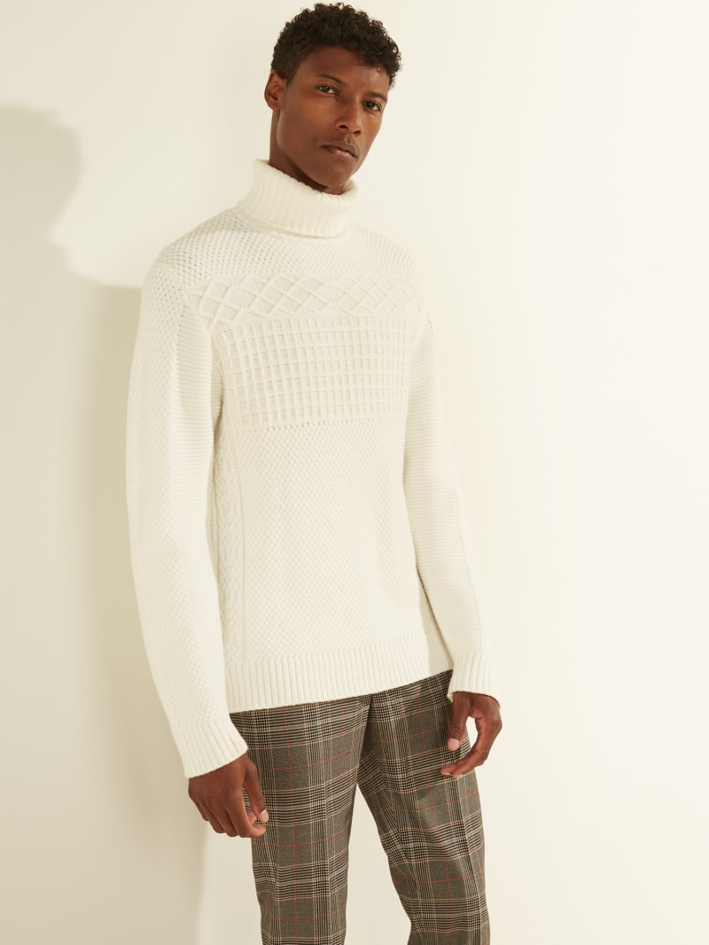 Mixed Cable Turtleneck Sweater