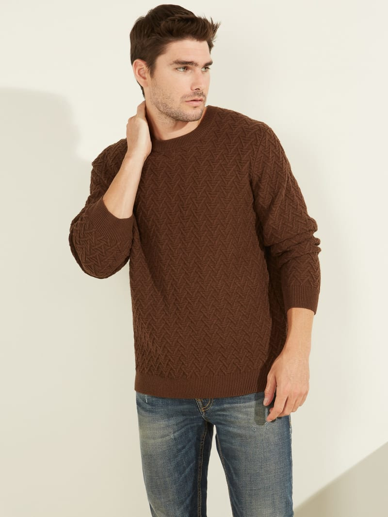 Geo Stitch Crewneck Sweater