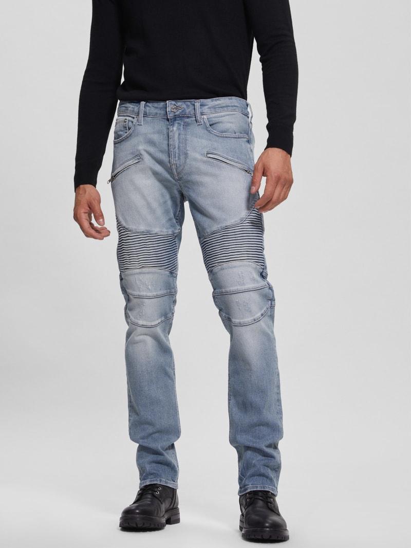 Slim Tapered Pintuck Moto Jeans