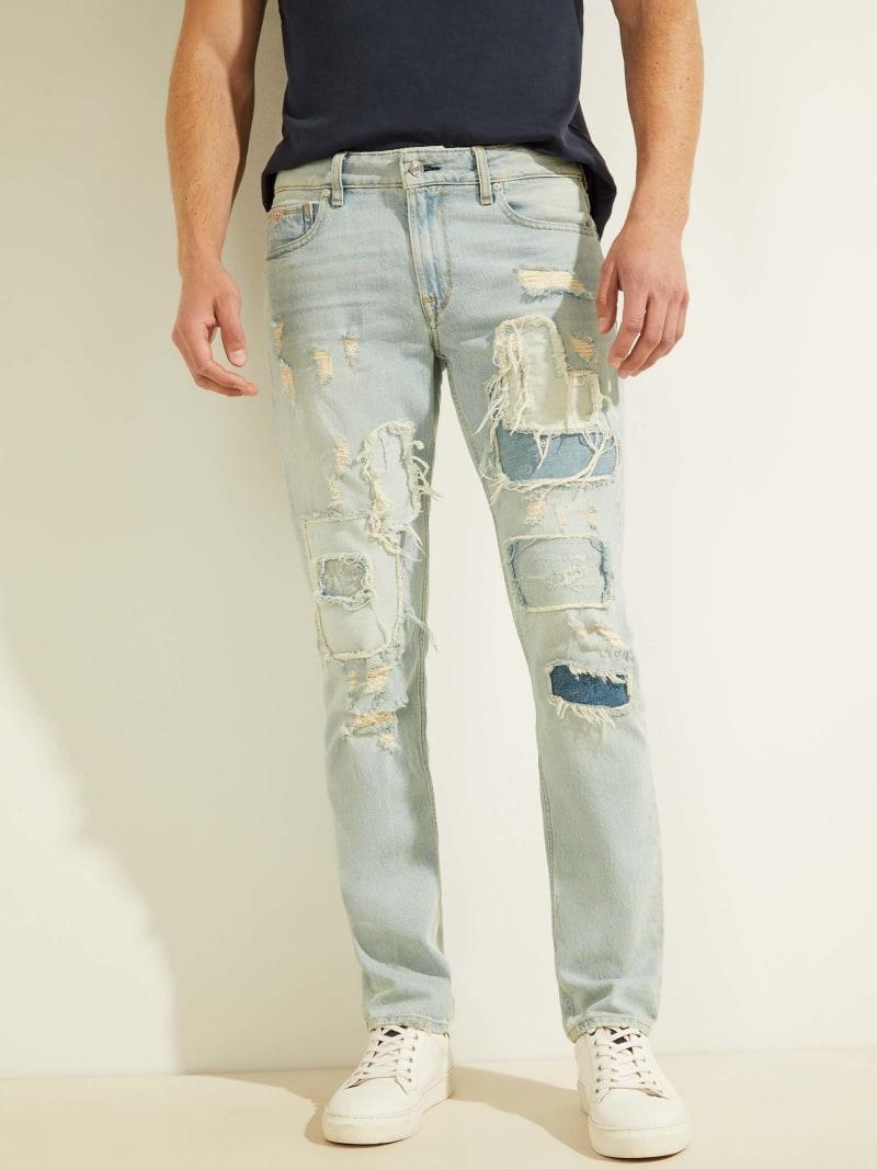 Destroyed Patchwork Slim Jeans