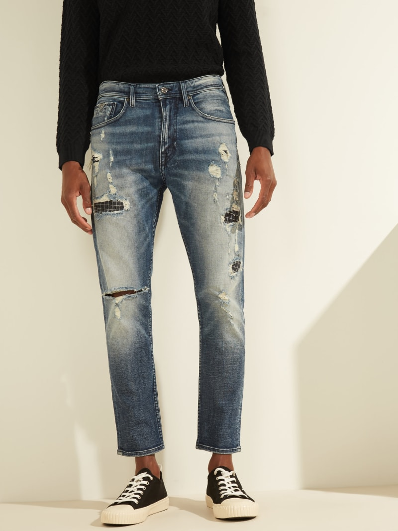 Destroyed Tapered Cropped Jeans