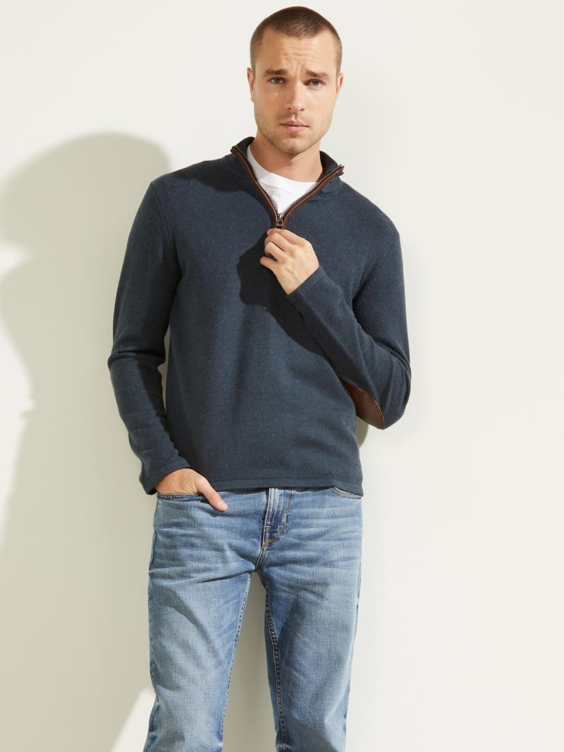 Faux-Leather Trim Zip Sweater