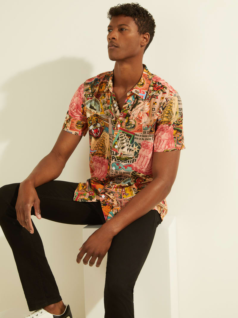 Eco Collage Button-Down Shirt