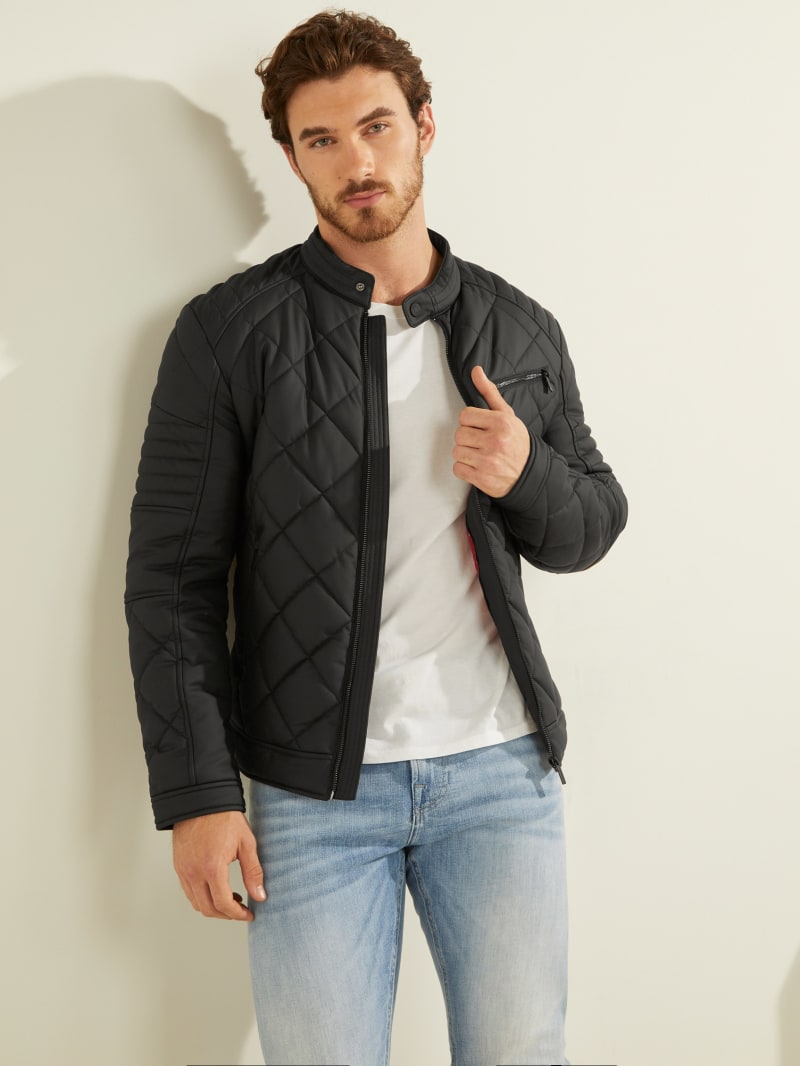 Faux-Leather Quilted Moto Jacket