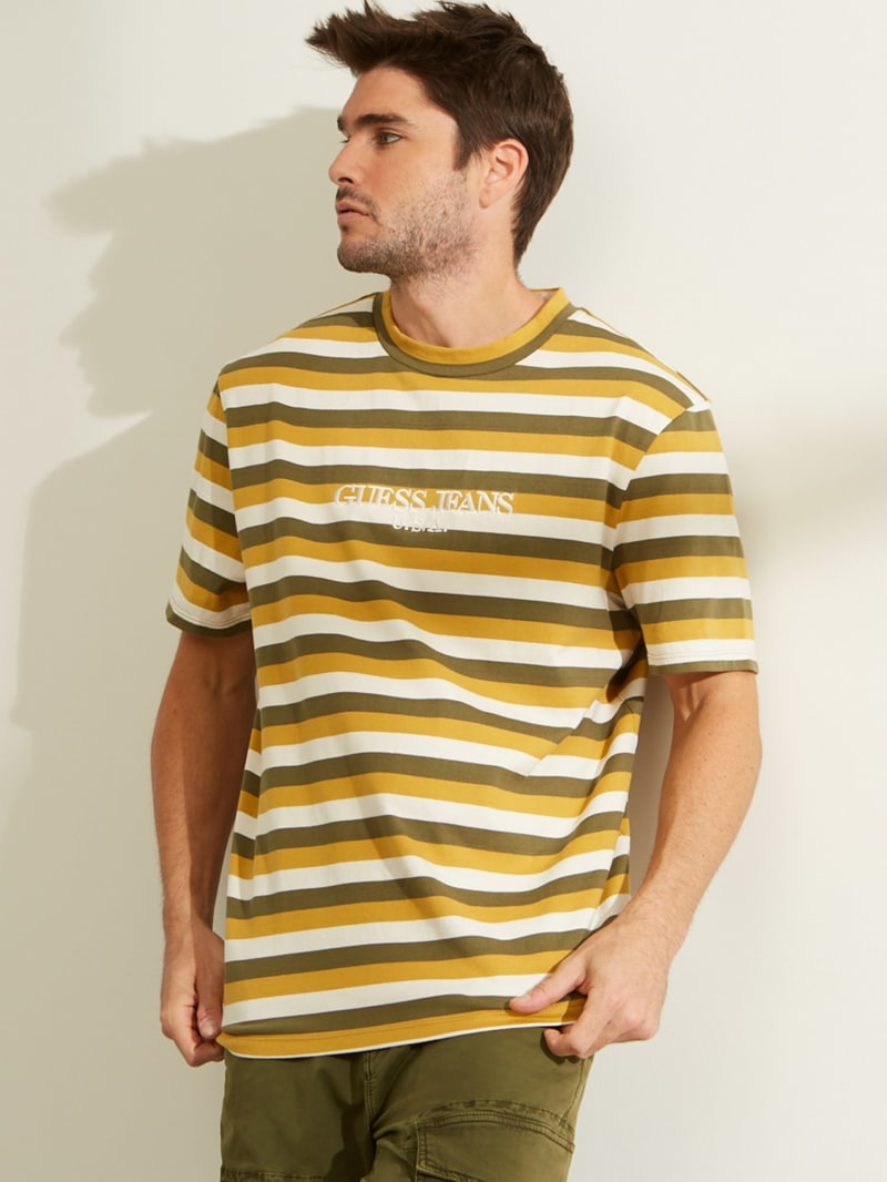 GUESS Originals Short-Sleeve Stripe Logo Tee