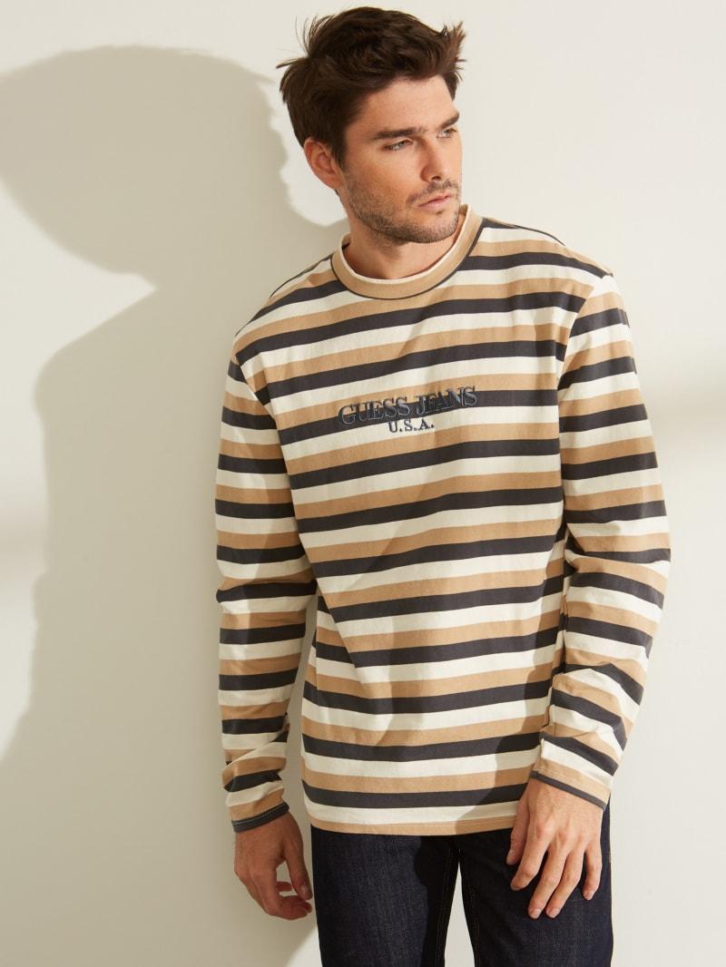 GUESS Originals Long-Sleeve Striped Logo Tee