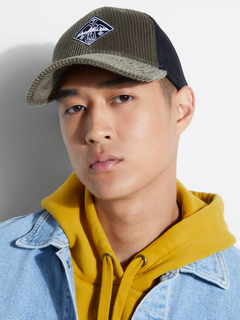 GUESS Originals Logo Corduroy Trucker Hat