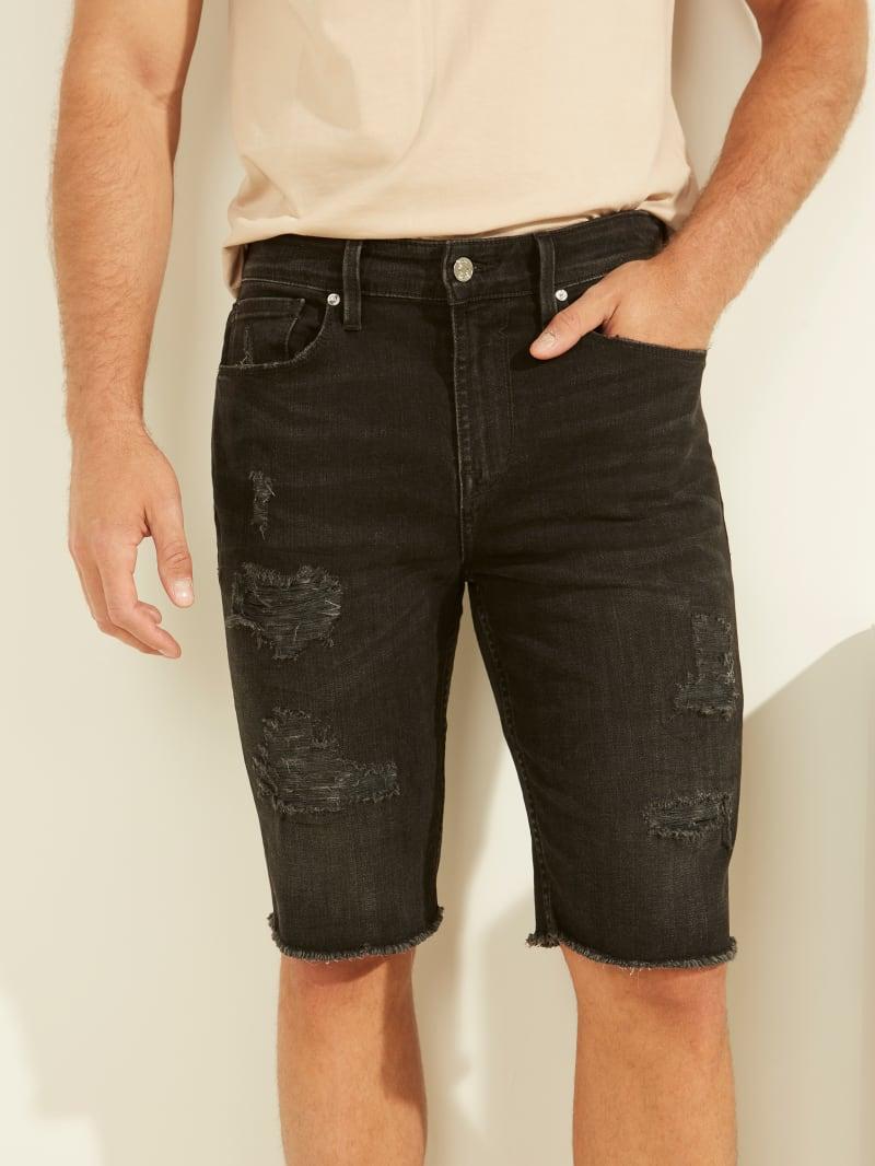 Slim-Fit Distressed Denim Shorts