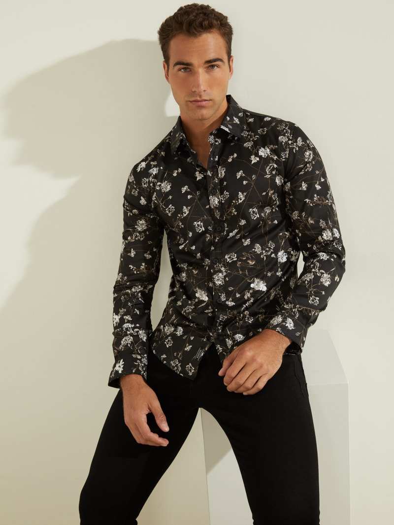 Luxe Stretch Mystic Floral-Print Shirt