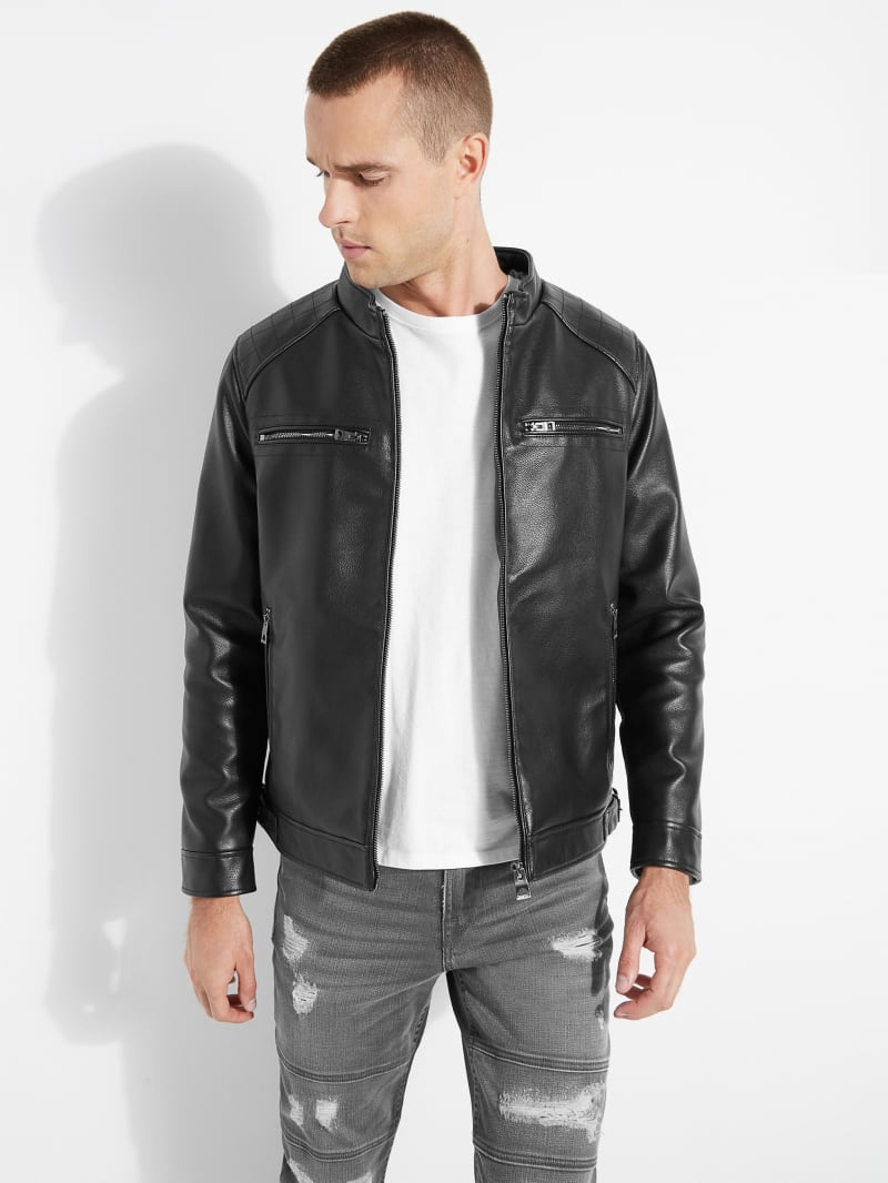 Stephen Hooded Faux-Leather Jacket