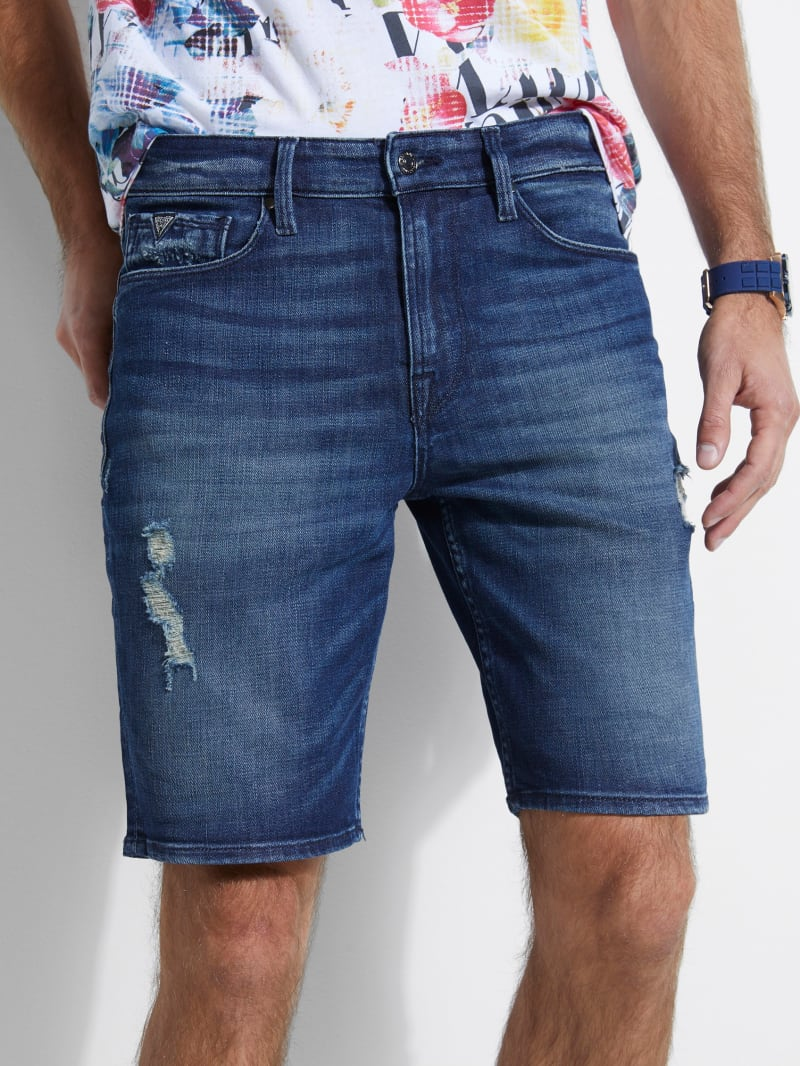 Slim Destroyed Denim Shorts