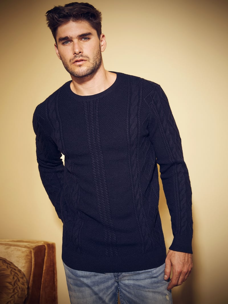 Liam Diamond Cable-Knit Sweater
