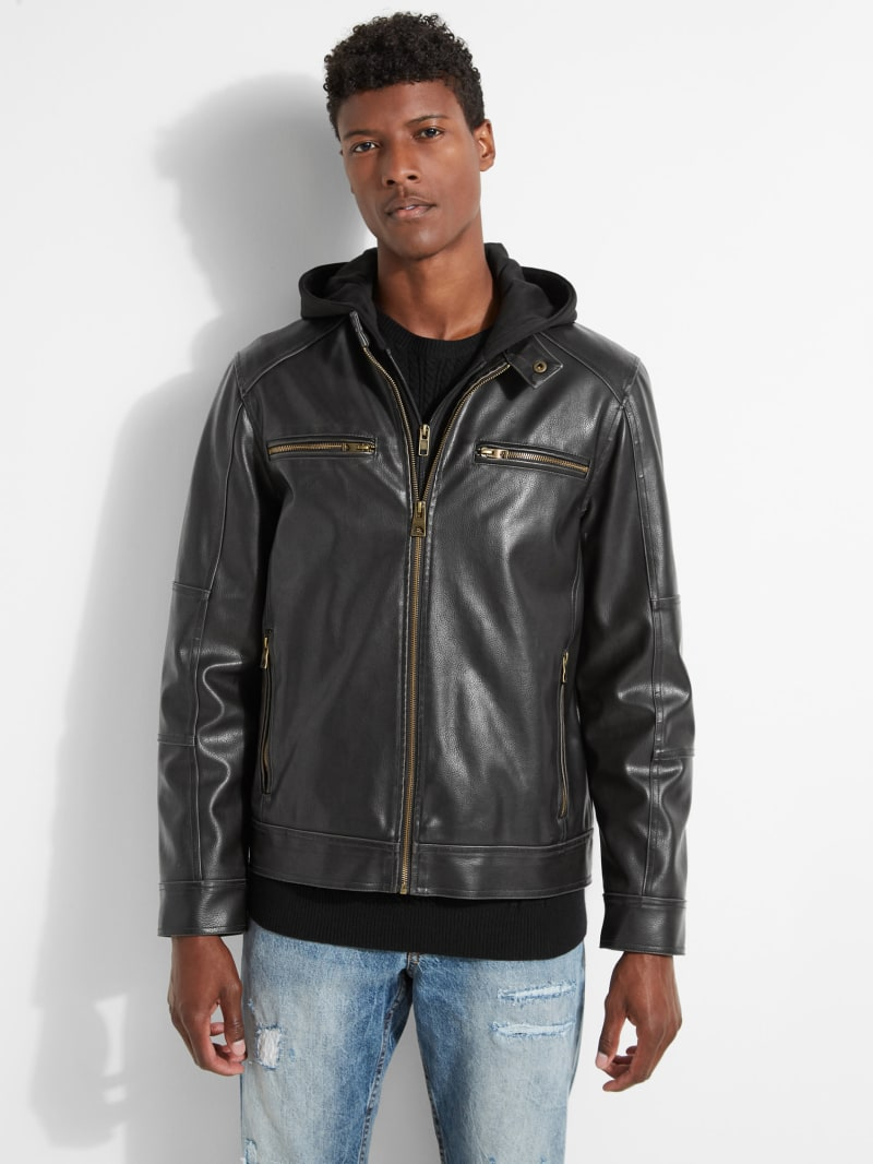 Zip-Out Hood Faux-Leather Jacket