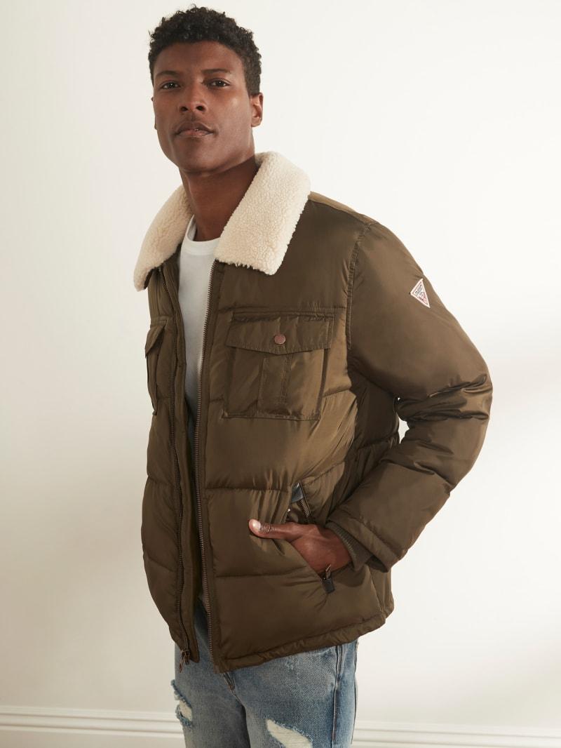 Faux-Sherpa Puffer Jacket