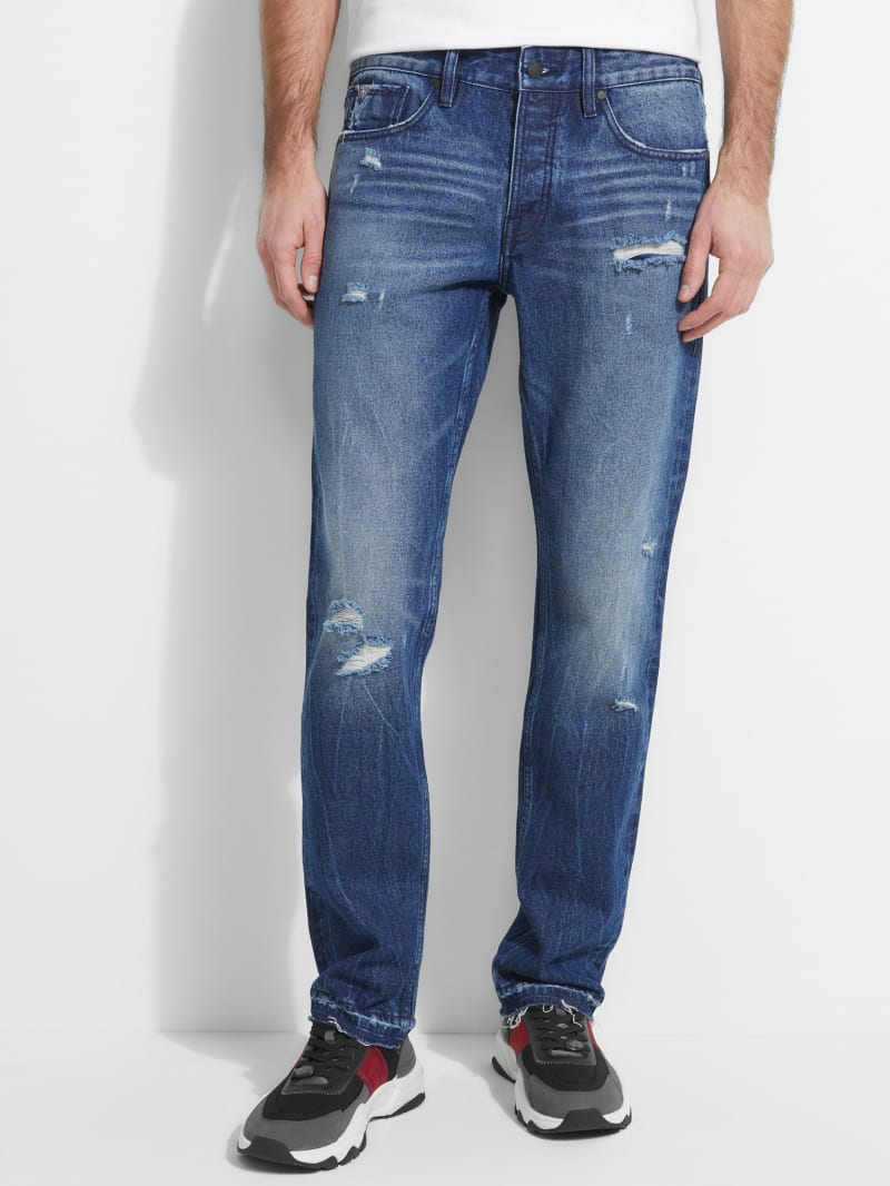 Rigid Slim Straight Destroyed Jeans