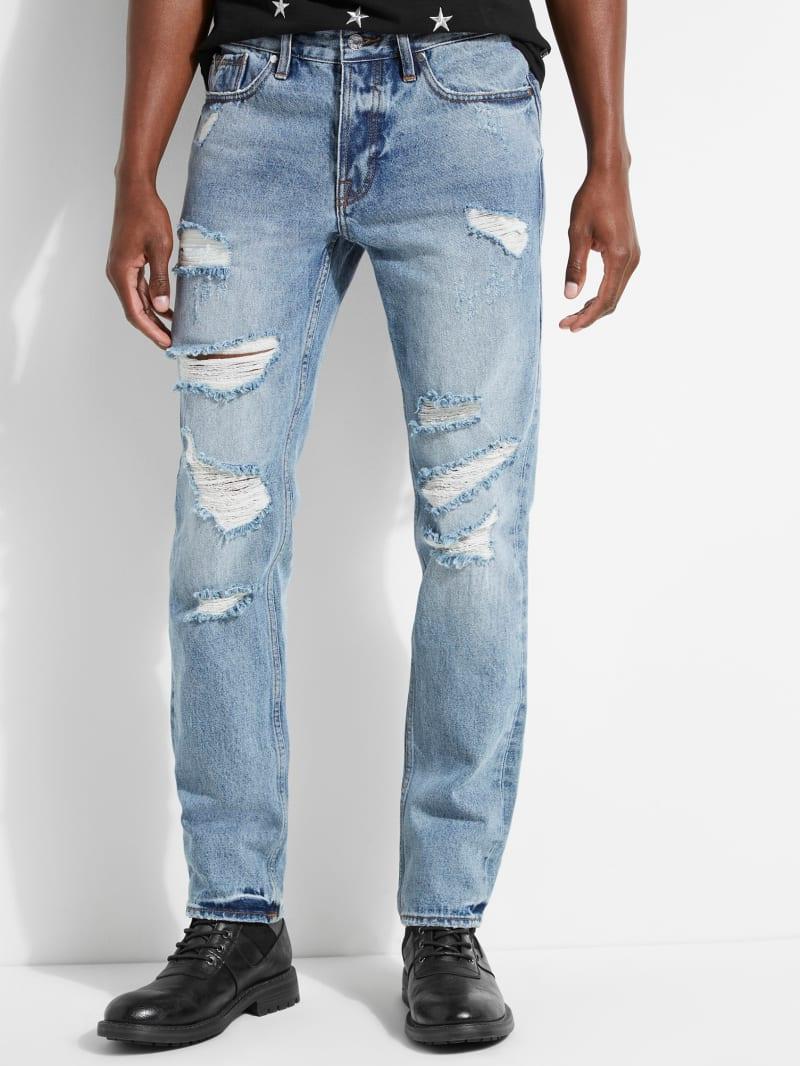 Rigid Slim Straight Destroyed Jeans