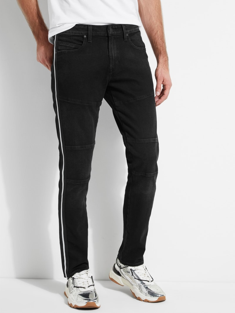 Slim Tapered Moto Jeans