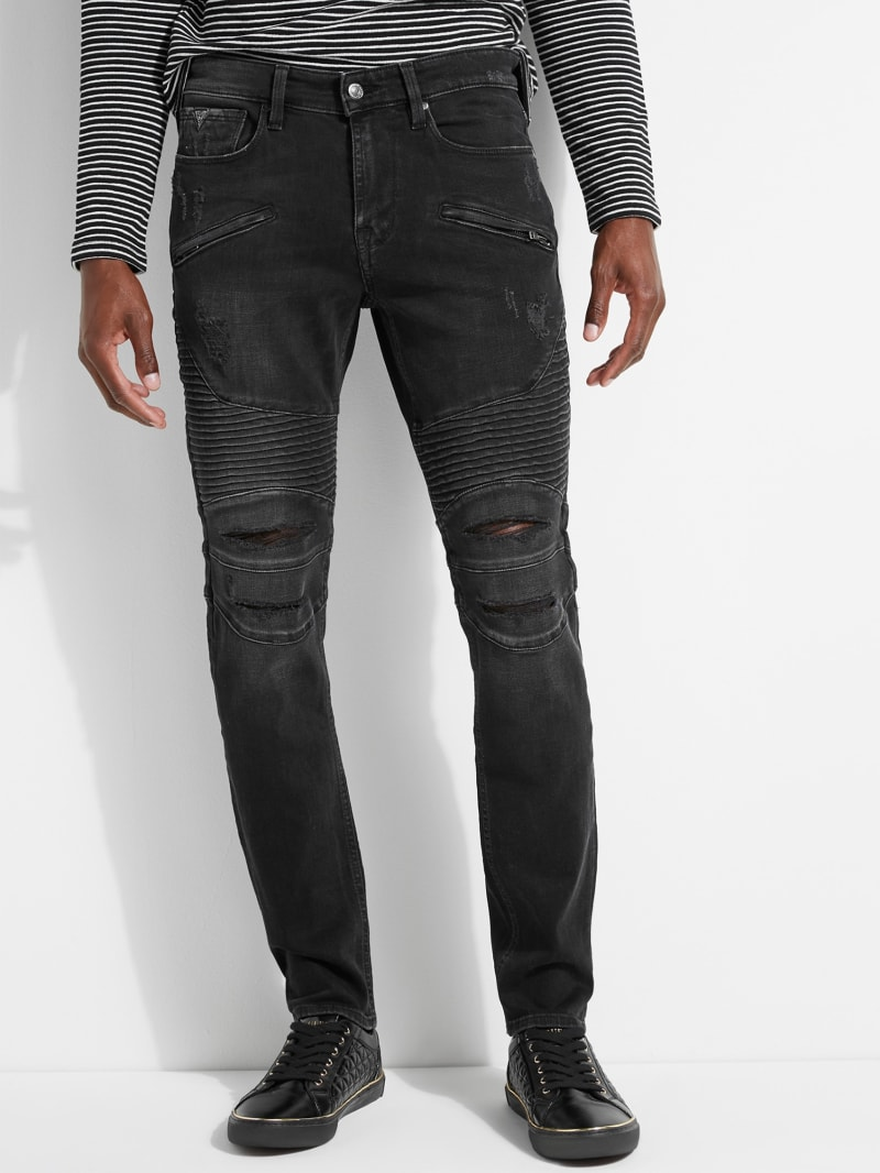 Pintuck Slim Tapered Moto Jeans