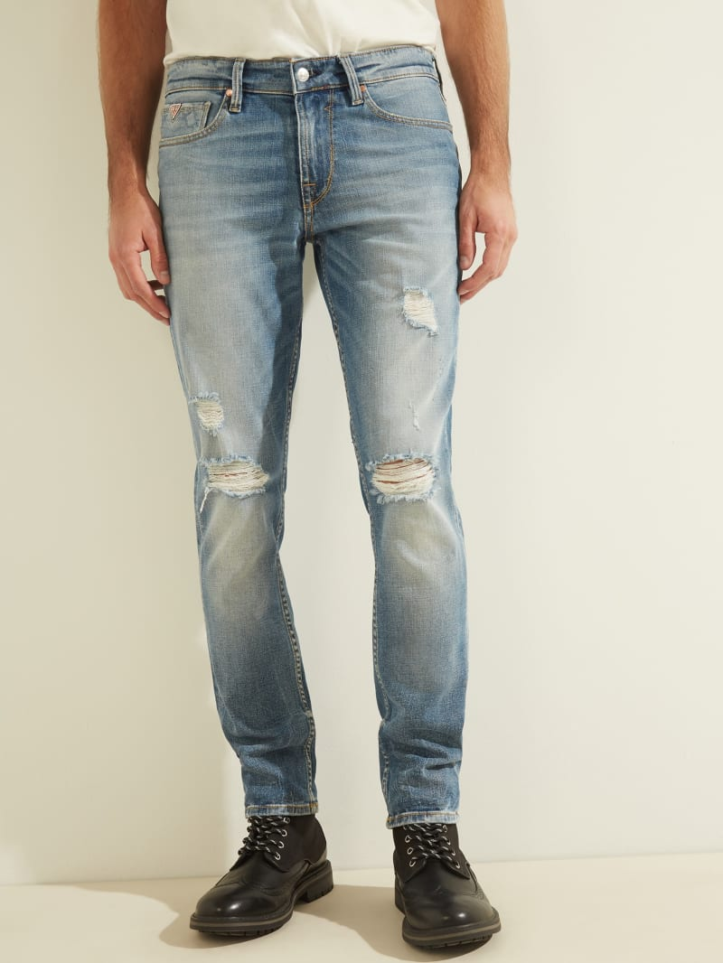 Distressed Slim Tapered Jeans