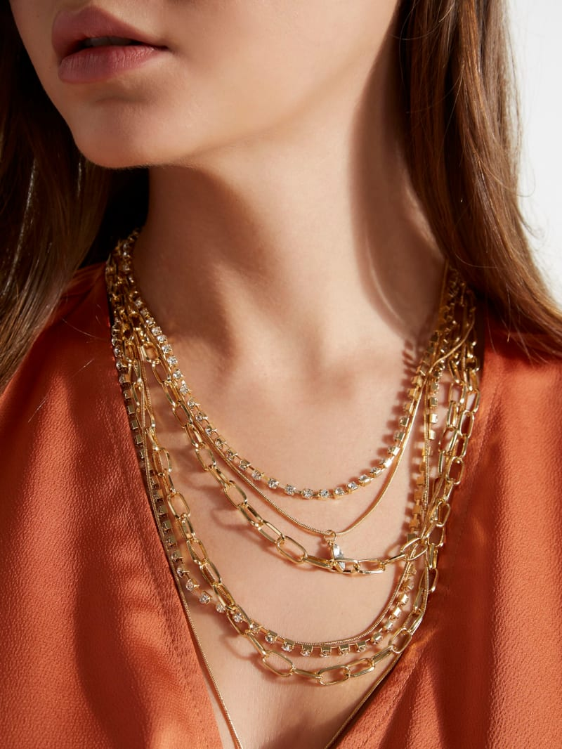 Layered Crystal Chain Necklace