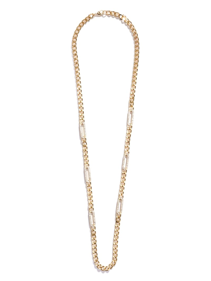 Gold-Tone Chain And Crystal Necklace
