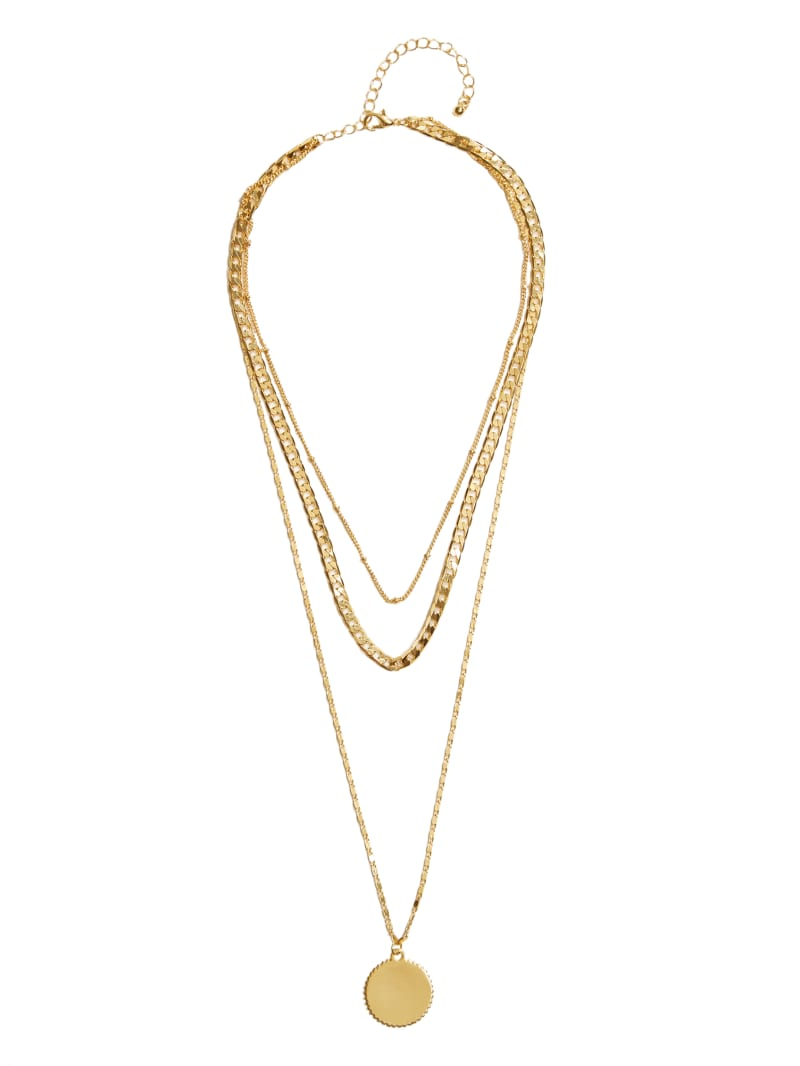 Gold-Tone Layered Medallion Necklace