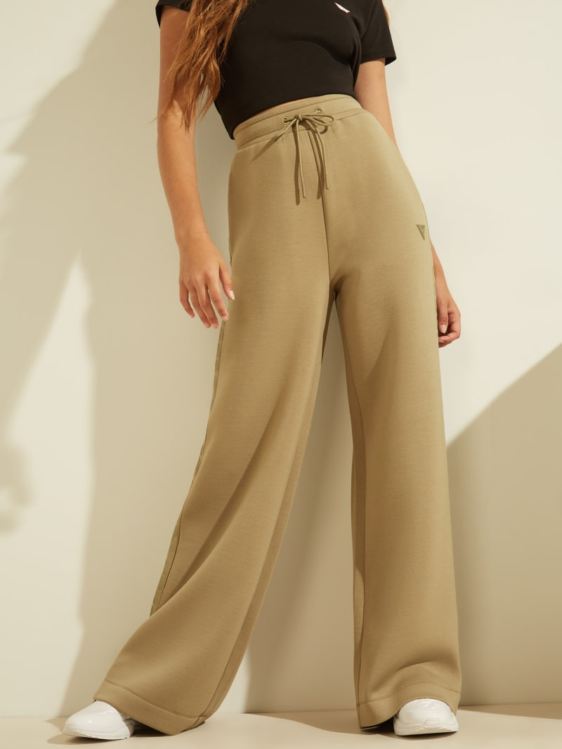 Logo Tape Scuba Wide-Leg Pants
