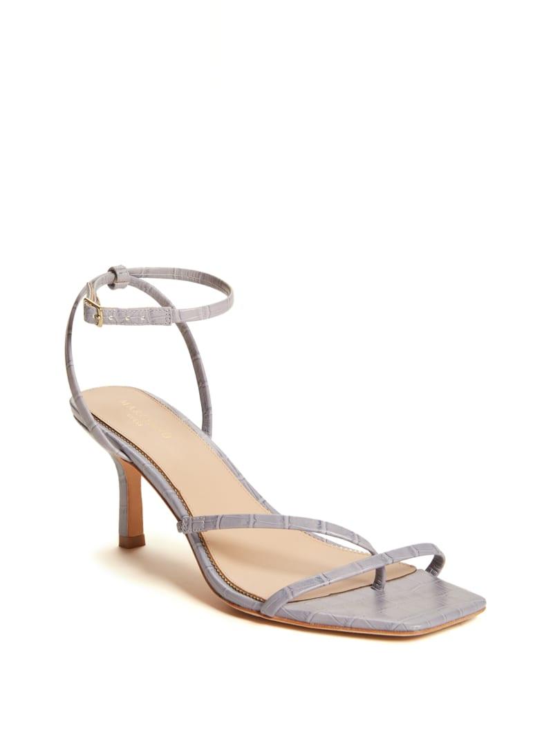 Strappy Faux-Croc Kitten Heel
